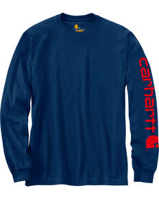 Carhartt Men's Navy Signature Graphic Logo T-Shirt, Navy, hi-res