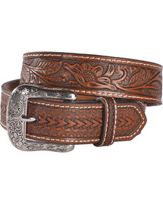 Cody James Boys' Brown Floral Embossed Belt, Brown, hi-res