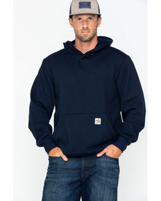 Carhartt Men's FR Hooded Pullover Solid Work Sweatshirt , Navy, hi-res