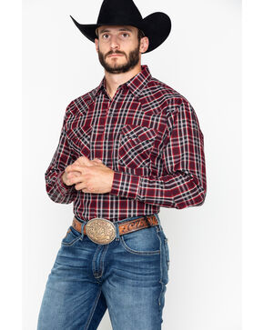 Ely Cattleman Men's Plaid Long Sleeve Western Shirt , Burgundy, hi-res