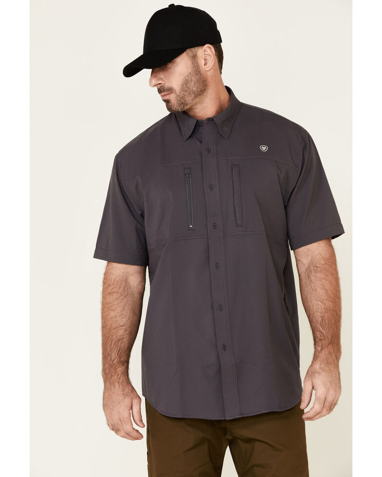 Ariat Men's Charcoal VentTek Solid Short Sleeve Button Western Shirt - Tall, Charcoal, hi-res