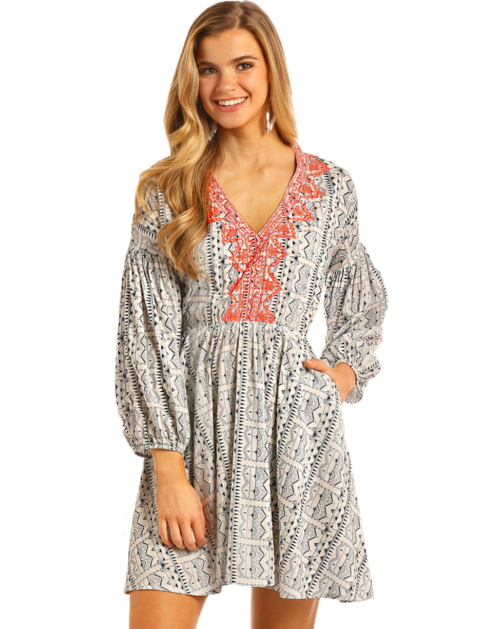 Rock & Roll Cowgirl Women's Navy Aztec Print Dress , , hi-res