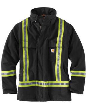 Carhartt Men's Black High-Visibility Striped Duck Traditional Coat - Big & Tall, Black, hi-res