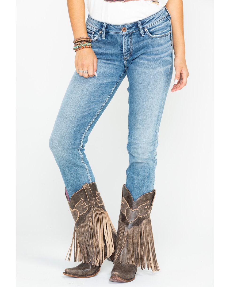 Silver Women's Suki Mid-Rise Curvy Straight Leg Jeans, Indigo, hi-res