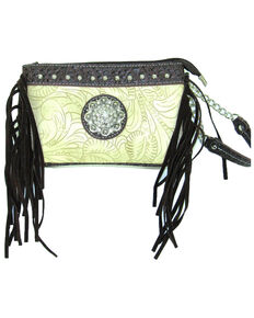 Savana Women's Tooled Crossbody/Wristlet with Fringe, Ivory, hi-res