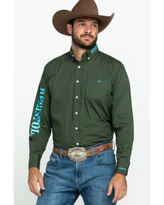 Resistol Men's Sage Green Brand Logo Long Sleeve Western Shirt , Green, hi-res