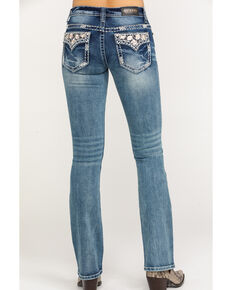 Shyanne Women's Faux Floral Flap Boot Cut Jeans, Blue, hi-res