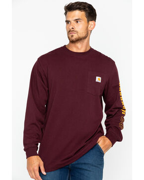 Carhartt Men's Exclusive Graphic Long Sleeve Tee, Burgundy, hi-res