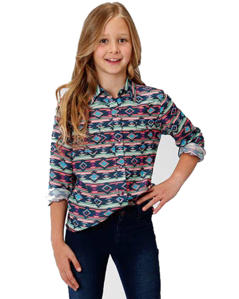 Five Star Girls' Multi Aztec Snap Long Sleeve Western Shirt, Multi, hi-res