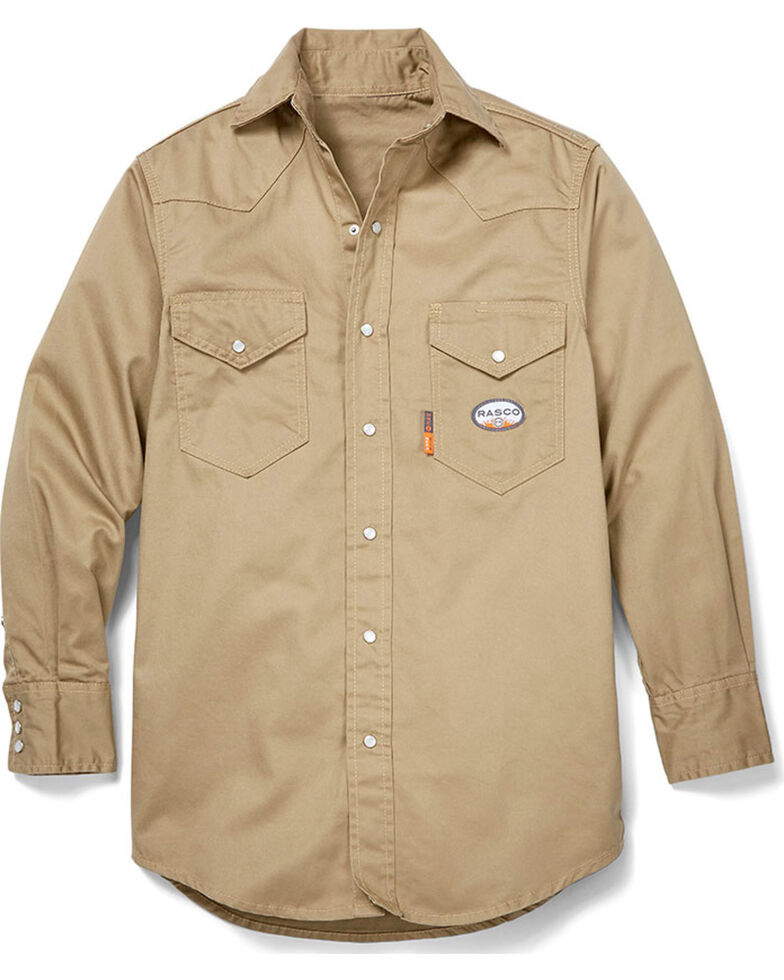 Rasco Men's Khaki FR Lightweight Twill Work Shirt - Big, Beige/khaki, hi-res