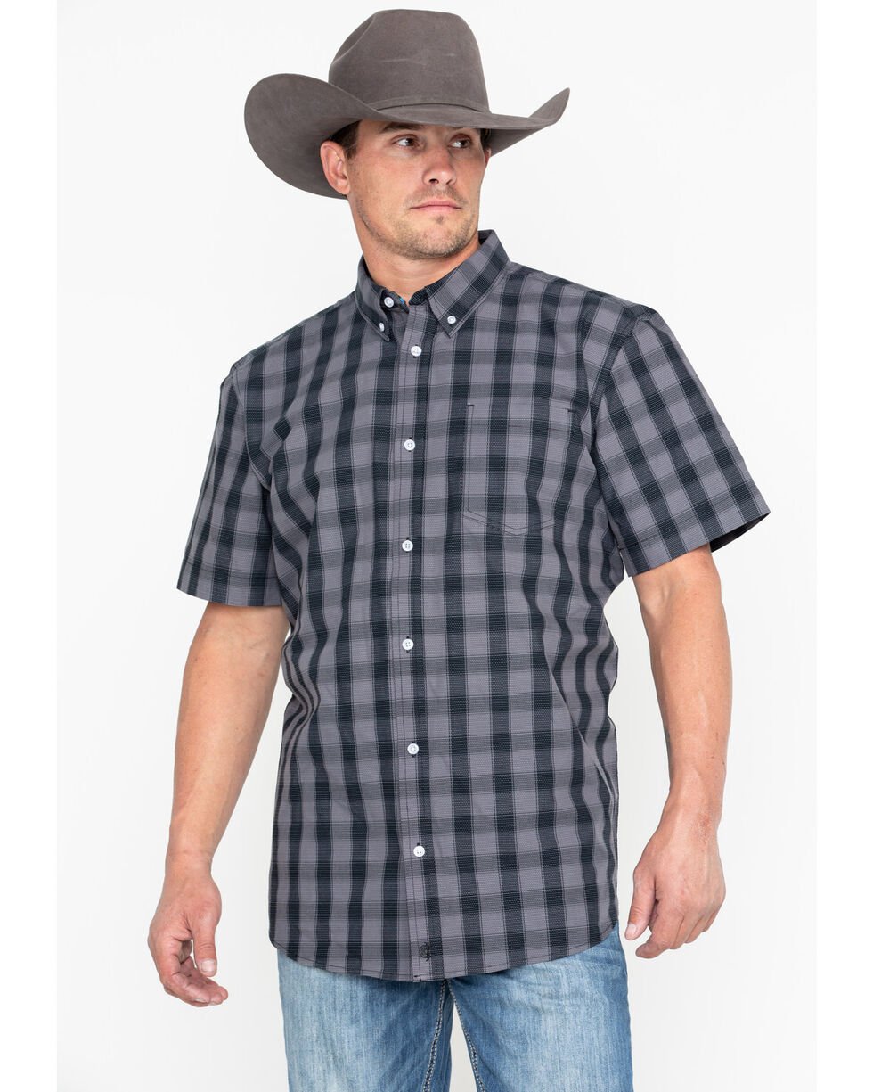 Cody Core Men's Checked Out Small Plaid Short Sleeve Western Shirt - Big , Black, hi-res