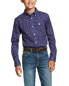 Ariat Boys' Guilforn Geo Print Short Sleeve Western Shirt , Blue, hi-res