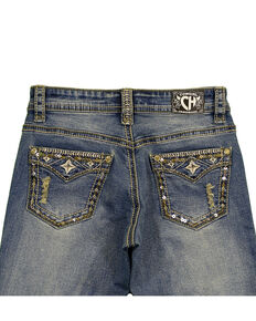 Cowgirl Hardware Girls' Bling Faux Flap Star Jeans, Blue, hi-res