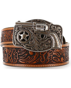 Justin Kid's Tooled Leather Belt, Brown, hi-res