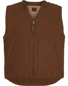 Berne Washed V-Neck Vest - 3XL and 4XL, Bark, hi-res