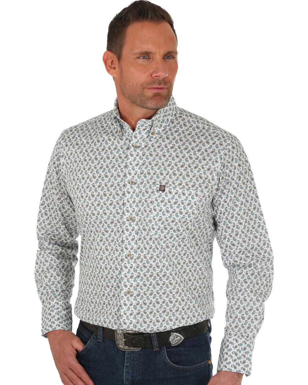 Wrangler Men's White Performance Paisley Print Shirt , White, hi-res