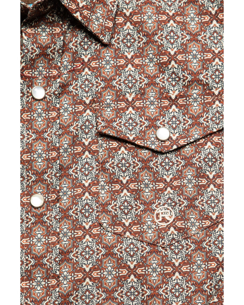 Roper Boys' Foulard Geo Print Long Sleeve Western Shirt , Brown, hi-res
