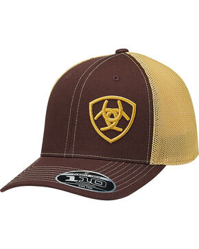 Ariat Men's Side Embroidered Trucker Hat, Brown, hi-res