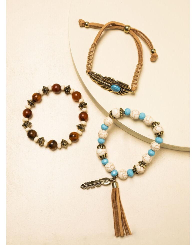 Shyanne Women's Crescent Sunset Feather Bracelet Set, Bronze, hi-res