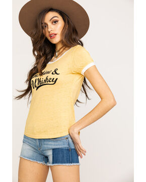 Shyanne Women's Sunshine & Whiskey Ringer Tee, Dark Yellow, hi-res