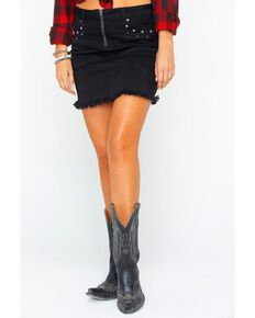 Idyllwind Women's Star Studded Denim Skirt , Black, hi-res