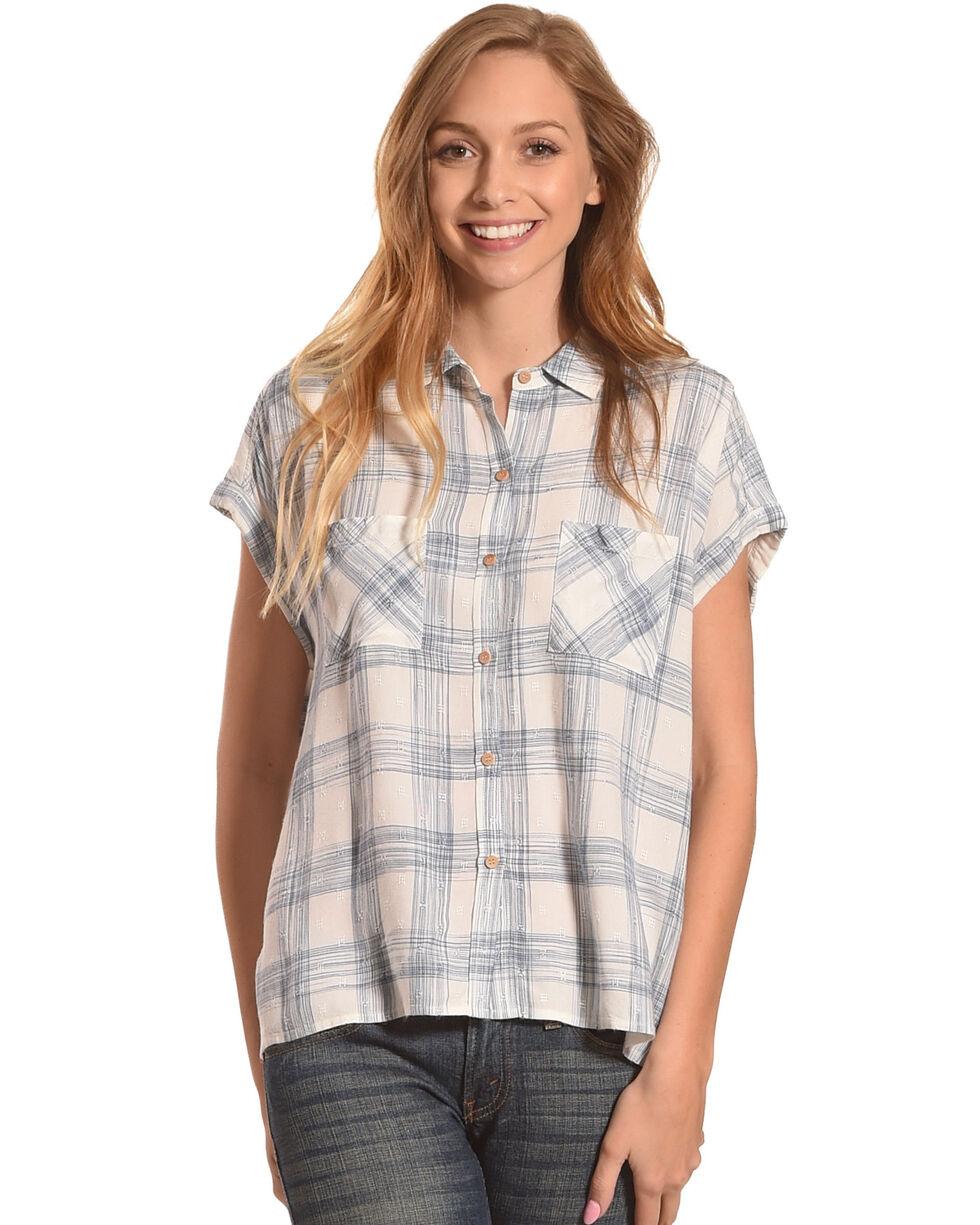 Shyanne Women's Plaid Short Sleeve Button Down Top, Blue, hi-res