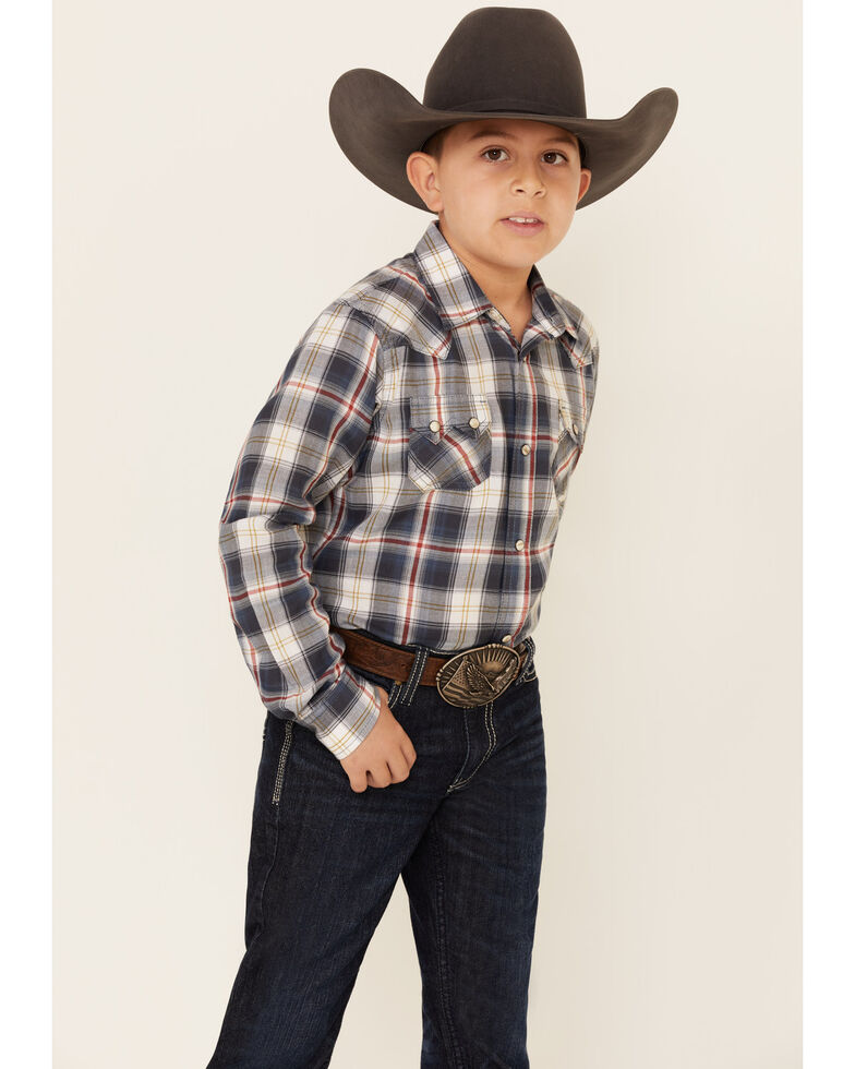 Ariat Boys' Anderson Retro Ombre Plaid Long Sleeve Western Shirt , Burgundy, hi-res