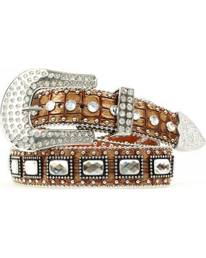 Blazin Roxx Large Square Rhinestone Croc Belt, Brown, hi-res