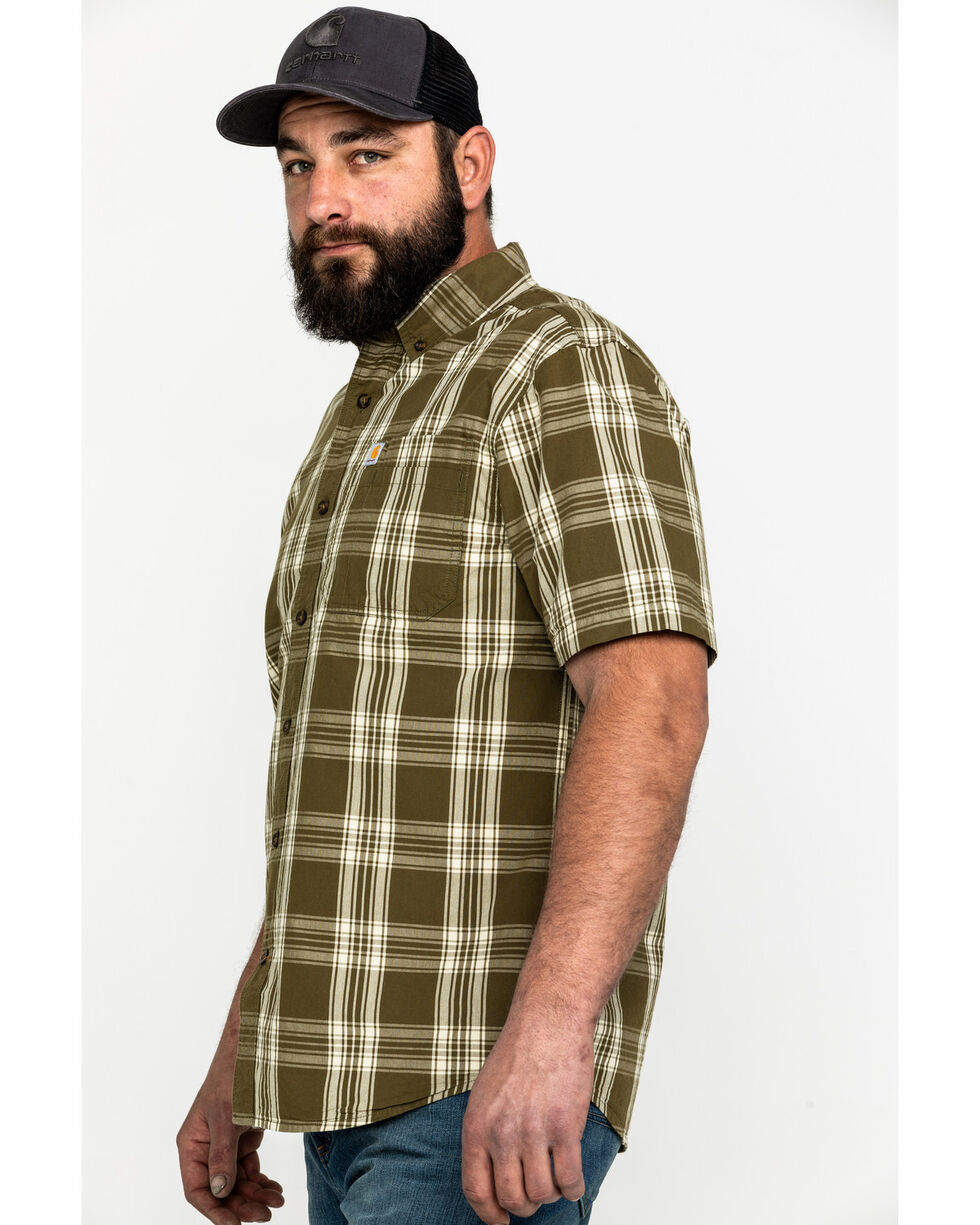 Carhartt Men's Olive Essential Plaid Button Long Sleeve Work Shirt - Big , Olive, hi-res