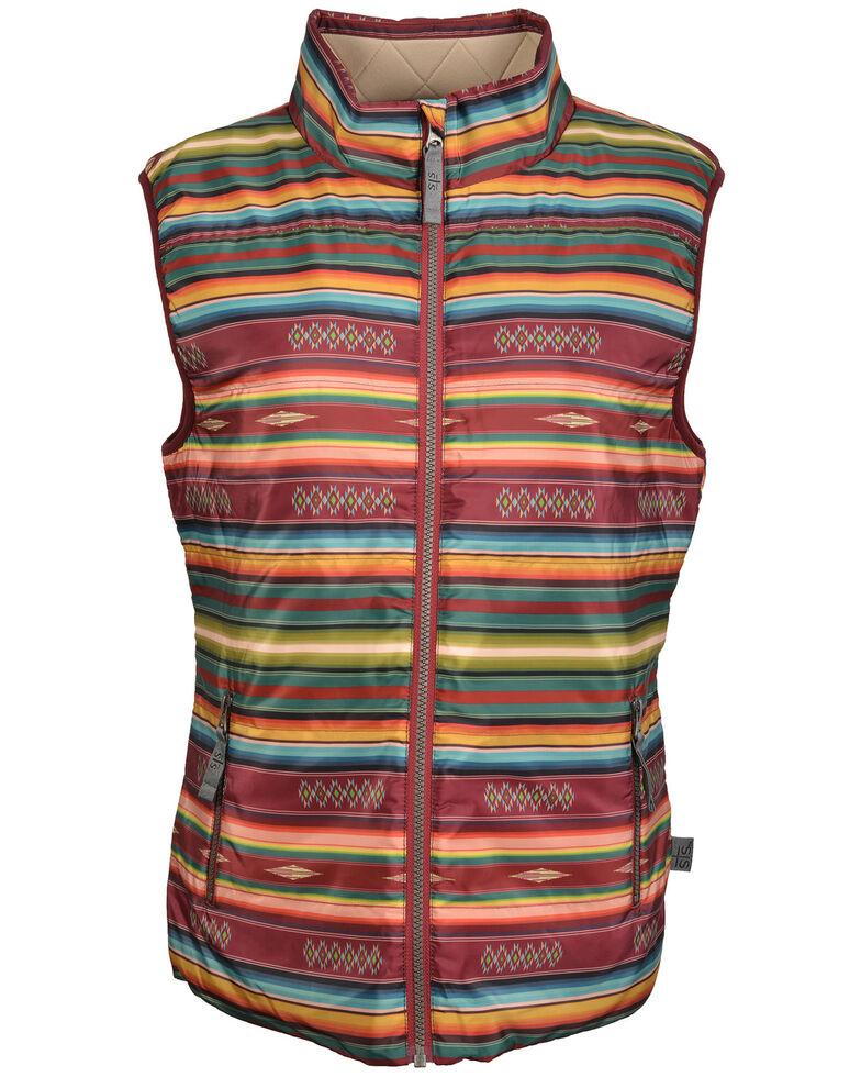 STS Ranchwear Women's Sealy Serape Micro Puff Vest , Maroon, hi-res