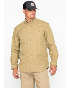 Carhartt Men's Rugged Flex Rigby Long-Sleeve Work Shirt, Beige/khaki, hi-res