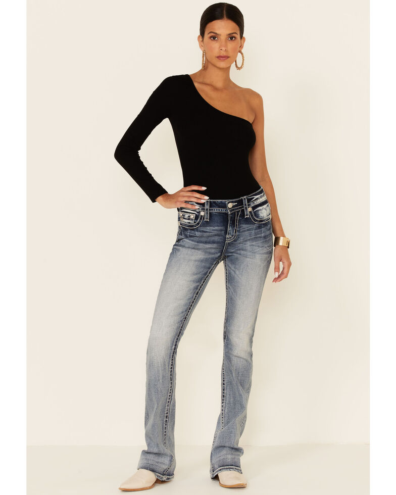 Miss Me Women's Angel Wing Bootcut Jeans, Blue, hi-res