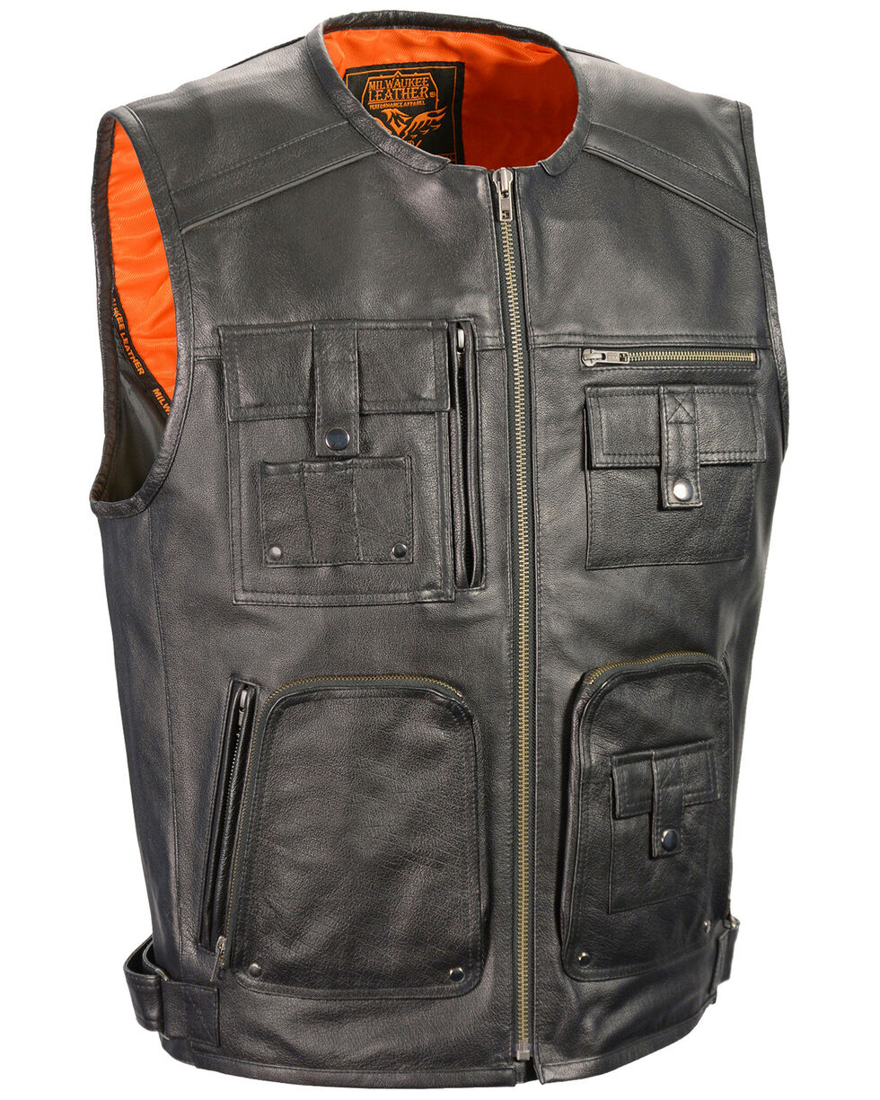 Milwaukee Leather Men's Zipper Front Super Utility Multi Pocket Vest - 4X, Black, hi-res