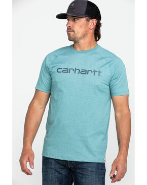 Carhartt Men's Grey Force Cotton Delmont Graphic Work T-Shirt , Heather Grey, hi-res
