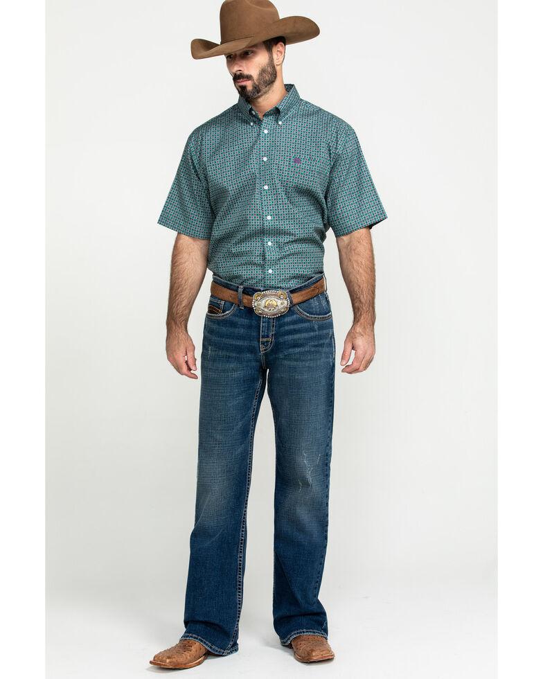 Cinch Men's Green Small Geo Print Short Sleeve Western Shirt - Big , Green, hi-res