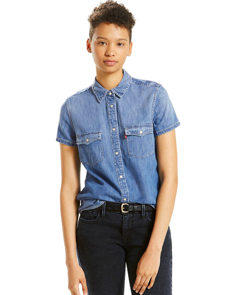 Levi's Women's Love Blue Short Sleeve Western Shirt , Blue, hi-res