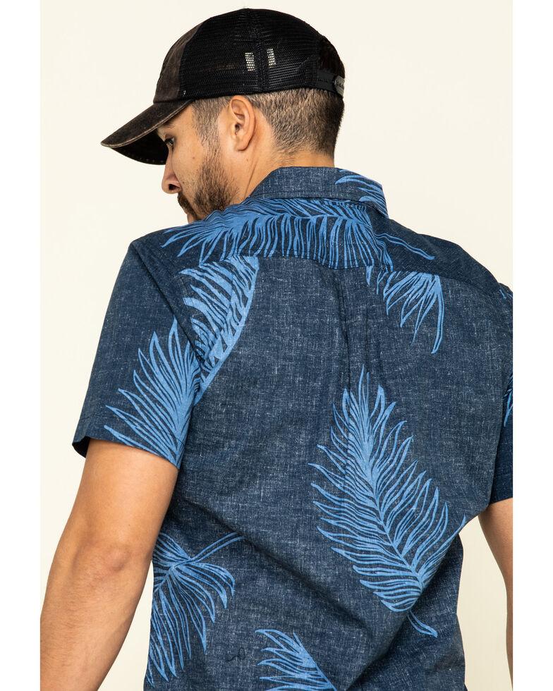 Levis' Men's Navy Windsor Palm Print Short Sleeve Western Shirt , Navy, hi-res