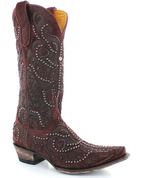 Old Gringo Women's Rowan Red Hair-On-Hide Studded Boots - Snip Toe , Red, hi-res