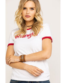 Wrangler Women's Red Wrangler Ringer Tee, Red, hi-res