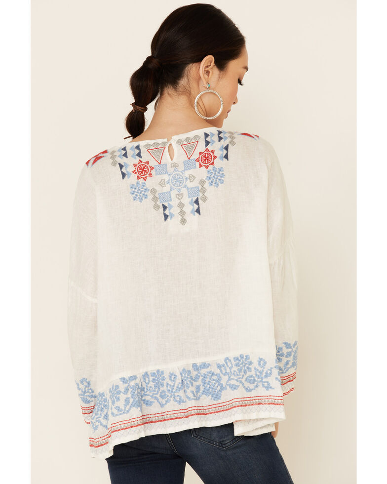 Johnny Was Women's White Mateo Embroidered Gauze Long Sleeve Top, White, hi-res