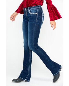 "Miss Me Women's 36"" Dark Mid Rise Boot Jeans , Blue, hi-res"