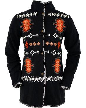 Outback Trading Company Women's Santa Fe Embroidered Fleece Jacket, Black, hi-res