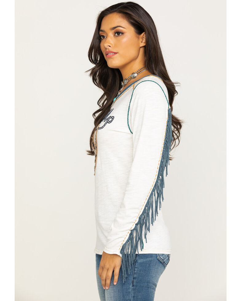 Double D Ranch Women's Giddy Up Fringe Top, White, hi-res