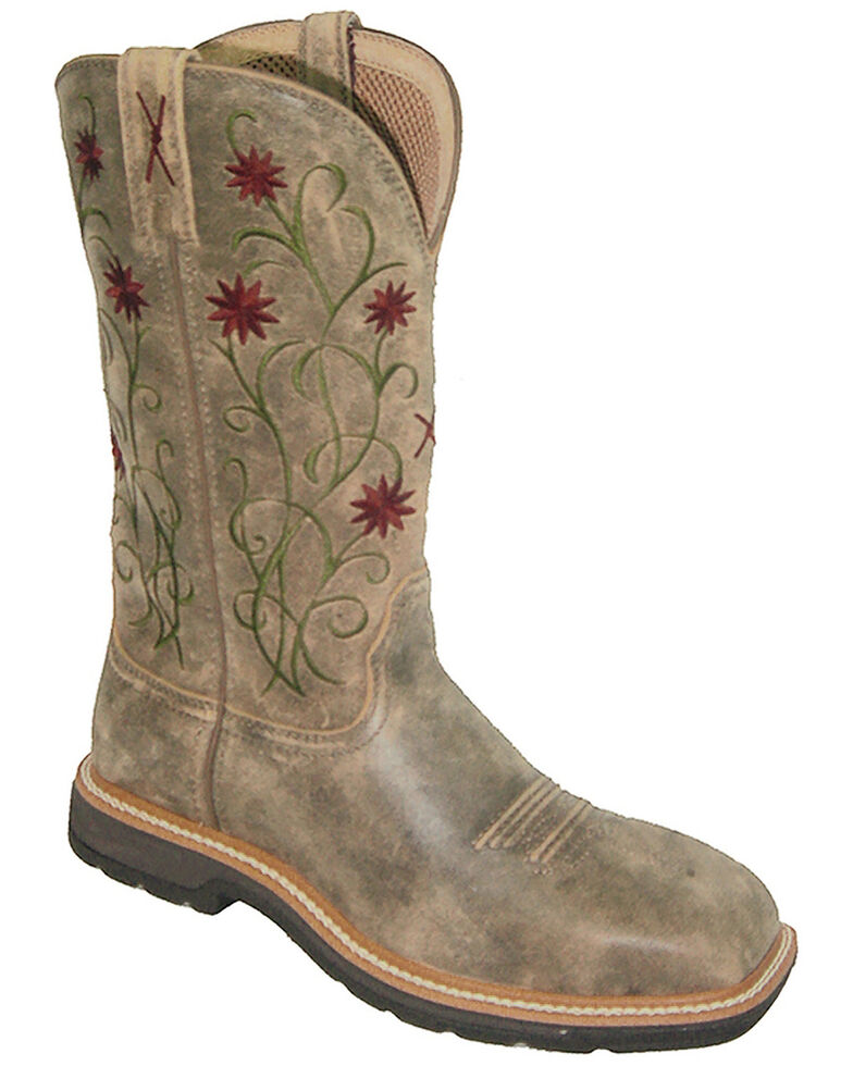 Twisted X Women's Floral Steel Toe Western Work Boots, Bomber, hi-res