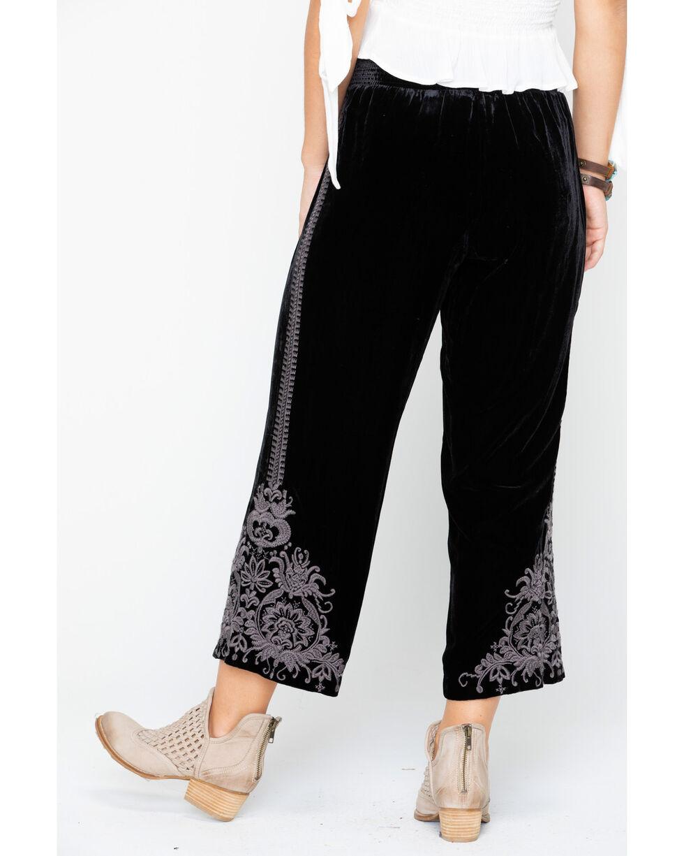 Johnny Was Womens' Hirsch Velvet Embroidered Crop Pants , Black, hi-res