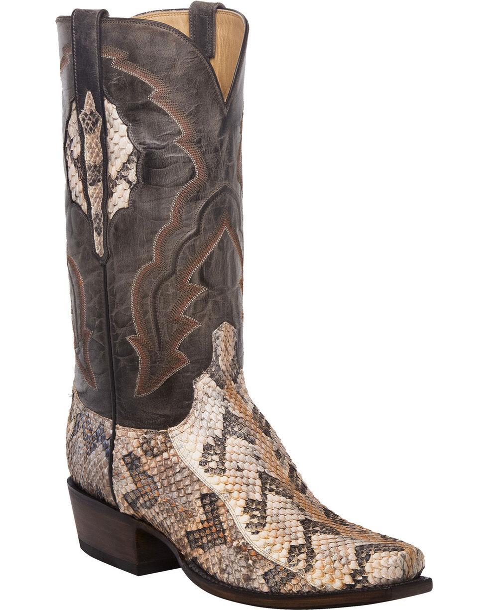 Lucchese Men's Handmade Jackson Canebrake Rattlesnake Western Boots - Square Toe, Tan, hi-res