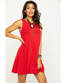 Red Label by Panhandle Women's Knit Sleeveless Pocket Swing Dress, Red, hi-res