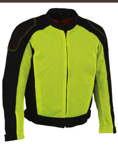 Milwaukee Leather Men's High Visibility Mesh Racer Jacket with Removable Rain Liner - 5X, Bright Green, hi-res