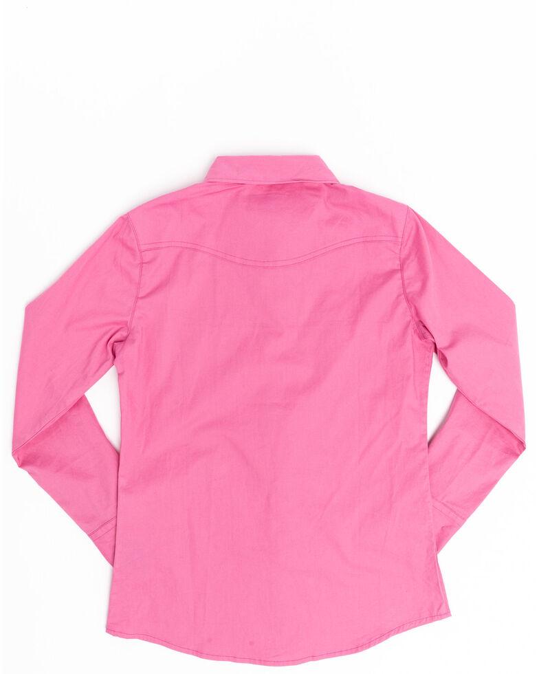 Shyanne Girls' Pink Rhinestone Long Sleeve Western Shirt, , hi-res