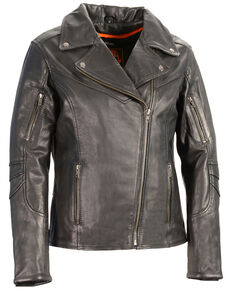 Milwaukee Leather Women's Lightweight Long Length Vented Biker Leather Jacket - 5X, Black, hi-res